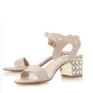 DUNE LONDON Harah Jeweled Block Heel Sandal 38